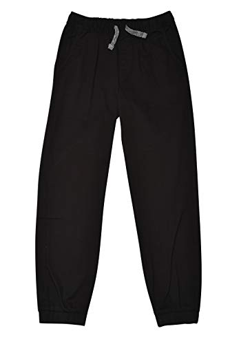 TONY HAWK Kids Boys Cotton Stretch Twill Woven Jogger Pants with Drawstring and Pockets School Clothes, Black, 10/12