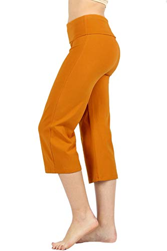 Over Fold Pant Crop - Re.Born Womens Comfort Slim Gaucho Flare Capri Yoga Athletic Pants with Fold Over Waistband D.Mustard 3XL