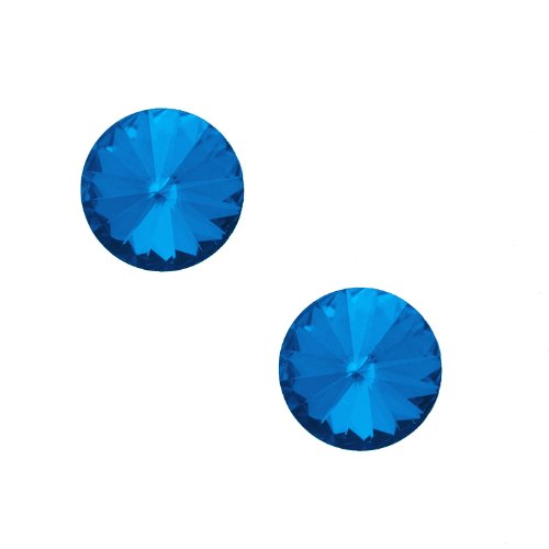 Studs Spinning Jewelry (Round Glass Crystal Stud Earrings (Blue))