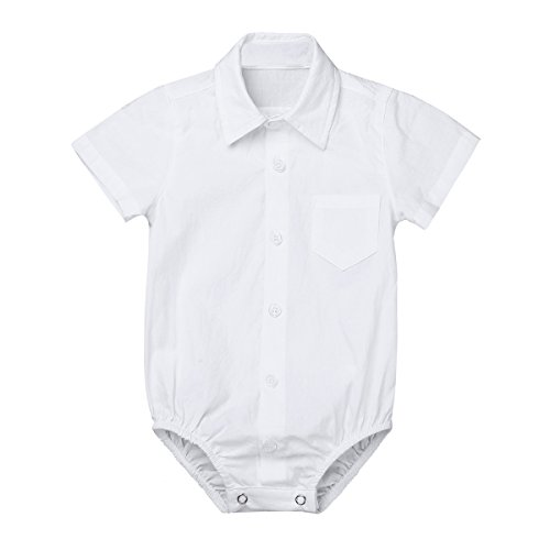 Yeahdor Baby Toddlers Boys White Formal Dress Shirt Bodysuit Gentleman Romper for Wedding Party Christening Short Sleeve 12-18 Months