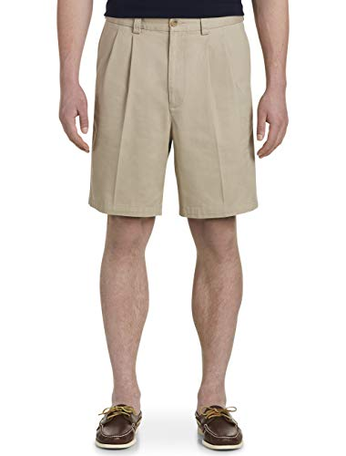 Harbor Bay by DXL Big and Tall Waist-Relaxer Pleated Twill Shorts, Khaki 44 Reg