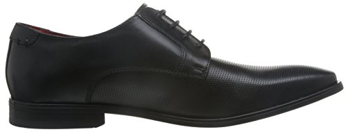 Base London Mens Charles Waxy Leather Smart Casual Derby Shoes Black