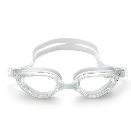 Jusheng anteojos HD Impermeables y antiniebla Hombres y Mujeres anteojos de natación con miopía con Marco Grande Gafas Planas (Color : White)