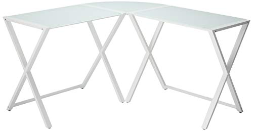 WE Furniture Elite Soreno Glass Corner Computer Desk, White