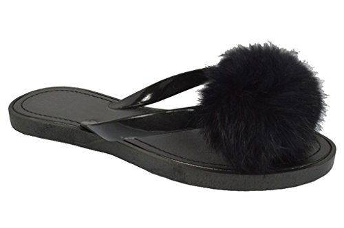 Tory Most Popular Character Trendy Fancy Black Open Toe Sandal Fake Fur Pom Pom Beach Summer Flip Flop Plastic Pretty Slippers House Kitchen Loafers for Sale Women Girls by TravelNut(Size 8, Black)