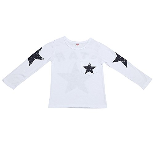 iYBUIA Cotton Infant Toddler Kids Baby Boy Long Sleeve Star Print T-Shirt Tops Clothes(White,110)