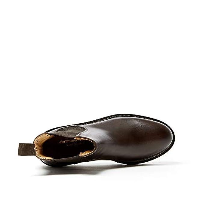Stivaletto Brown British Di Plain Decorazione Moro Testa Passport Boot Colore Con Dark Donna Chelsea