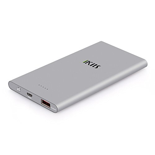Portable Charger, iKits 5000mAh Ultra Compact Portable Power Bank External Battery Pack Input: 5V 2A, Output:2.4A with Smart IC Technology for iPhone / iPad & Samsung Google Nexus & more Space Gray