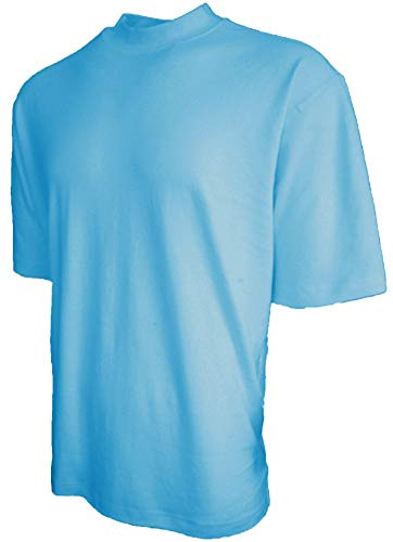 Good Life Brand 100% Cotton Mock Turtleneck Shirt Short Sleeved Pre-Shrunk 4 Colors (XL, Sky Blue) ()