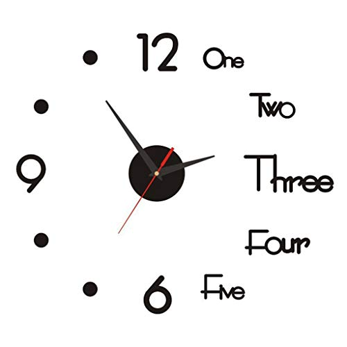 Daopwlkom Frameless Large 3D DIY Wall Clock, Modern Design Creative Mute Wall Clock for Home Living Room Office Decoration Gifts (Black)