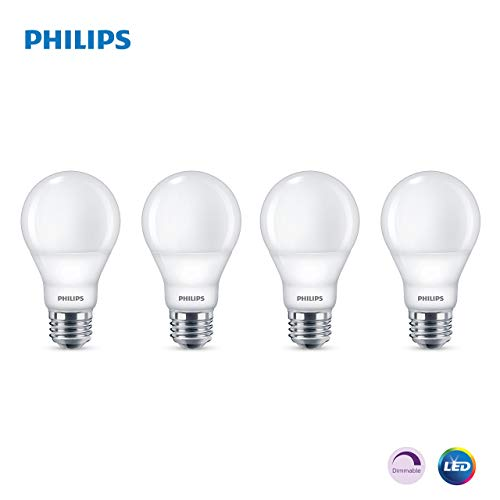 Philips LED Dimmable A19 Light Bulb: 800-Lumen, 5000-Kelvin, 9-Watt (60-Watt Equivalent), E26 Base, Frosted, Daylight, 4-Pack (Renewed)