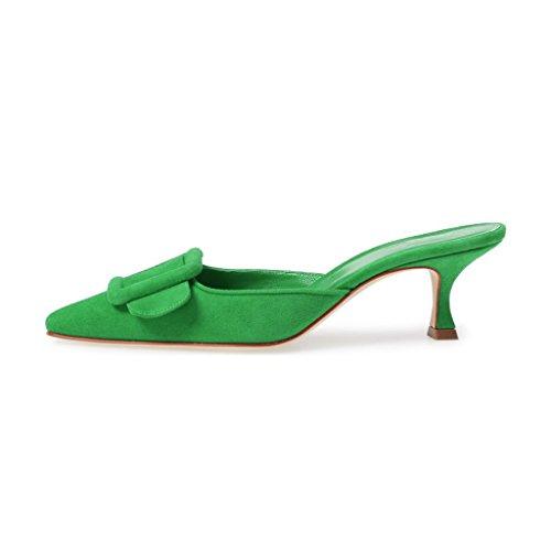 Heel Green on Suede Slip Mule Pointy Kitten XYD Buckle Low Shoes Slide Women Sandals Toe 0qxB6Xvgw