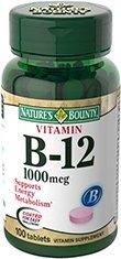 Bounty Природный витамин B12, 1000mcg, 100 таблеток Природы (в упаковке 2)