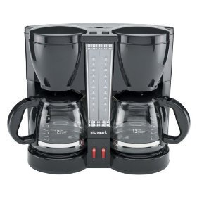 Micromark Filter Coffee Maker Dual 100W Capacity 1.8 Litre or 2x12 Cups Black Ref MM52198 ...