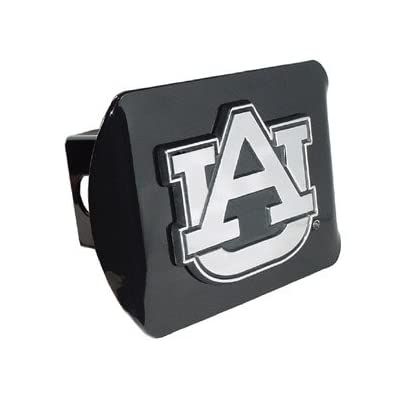 "Auburn University Tigers ""Black with Chrome AU Emblem"" NCAA College Sports Trailer Hitch Cover Fits 2 Inch Auto Car Truck Receiver: Automotive"