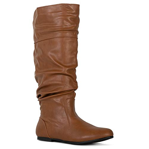 - RF ROOM OF FASHION Medium Calf Slouchy Knee High Boot (Tan PU Size 7)
