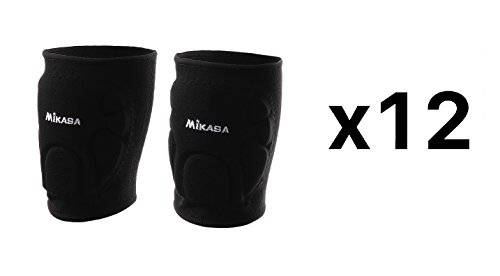 Mikasa Advanced Knee Pads For Volleyball & Basketball - Adult, Black (12-Pack)