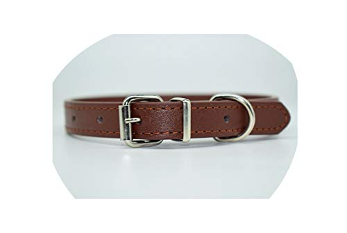 Tuyhnm PU Leather Solid Soft Pet Dog Collar for Small Medium Large Dogs Neck Strap Adjustable,Coffee,S for $<!--$11.40-->