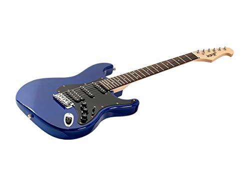 Monoprice Indio Cali Classic HSS Electric Guitar – Blue, With Gig Bag