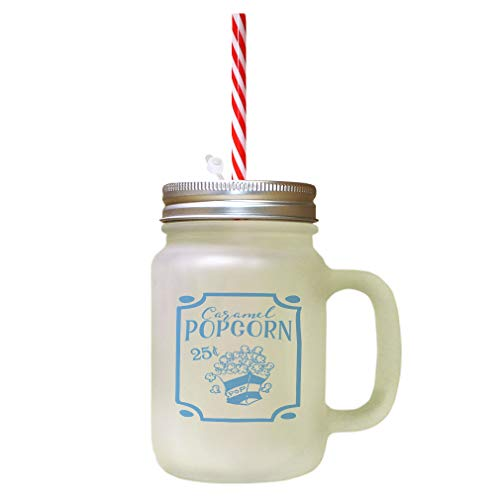 Light Blue Caramel Popcorn 25? Pop Frosted Glass Mason Jar With Straw