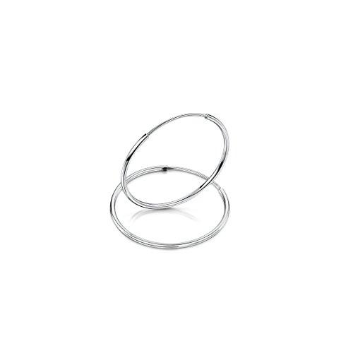 Amberta® 925 Plata De Ley Pendiente De Aro Fino Con Pendientes De Aro Sin Fin – Pendientes De Aro Tipo Criolla – Diámetro: 20 30 40 60 80 mm