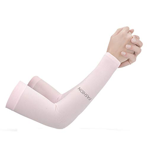 Fine UV Protection Long Arm Sun-Protection Sleeves,UPF 50 Compression Sun Sleeves for Men & Women for Running, Cycling, Fishing, Golf, Volleyball, Basketball, (Pink)