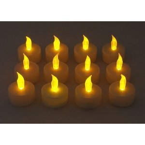 Lily's Home 48 Flickering Candle Set Flickers Like a Real Candle, Tealight Candles Flameless Candle Wedding Tea Light (Flicker Solar Lights Candle)