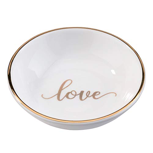 Lillian Rose RA105 LO Love Ring Dish, Measuring 3.5 x 3.5 inches, White ()