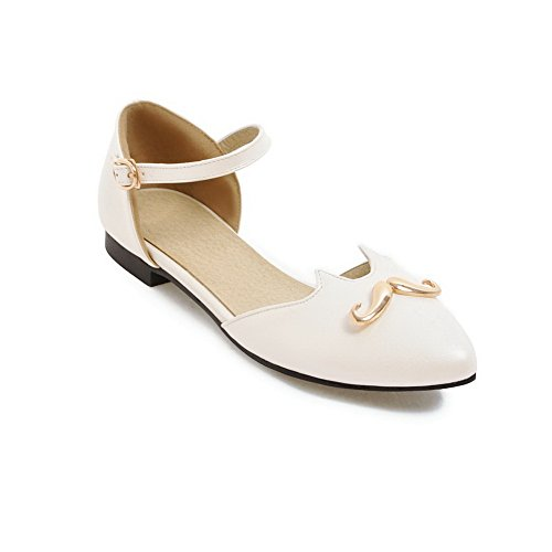 AdeeSu Womens Sandals Closed-Toe Buckle Ankle-Wrap Heeled Solid Cold Lining Not_Water_Resistant Dress Smooth Leather Urethane Sandals SLC03544 White 0xlwOYrF