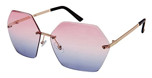 Edge-I-Wear Oversized Hexagon Shaped Sunglasses with Ocean Lens - Sunglasses Ocean Wear