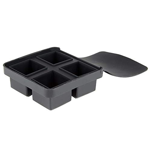 Tablecraft BSCT2 4-Section Ice Cube Tray - Silicone, Black ()