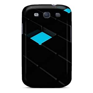 Awesome Design Black And Teal Cubes Hard Case Cover For Galaxy S3 by icecream design