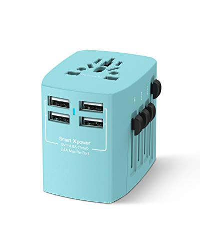 Xcentz Universal Travel Power Adapter, 4-USB 4.8A Wall Charger AC Plug, Travel Accessories Essentials Gifts for Women Girl Worldwide Power Adapter for EU UK AU US Cell Phone Tablet - Gift Essentials