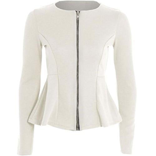 Top Size Zeetaq Size Plus Tailored Ladies Blazer UK New Cream Peplum Zip Jacket Ruffle 26 8 Women's wOwR04qP