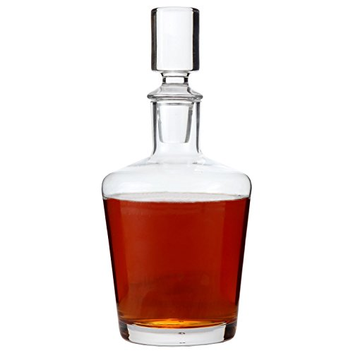 Lily's Home Glass Liquor and Whiskey Decanter with Glass Stopper, Let Your Favorite Vintages Breathe with This Beautifully Stylish and Functional Piece (26 Ounces)
