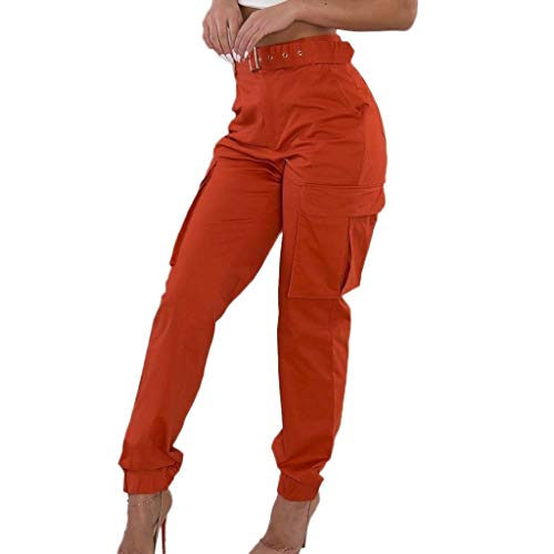 PASATO Womens Cargo Outdoor Trousers Casual Pants Military Combat Solid Pants Pocket Work Pants Hot Sale!(Orange,XL=US:L)