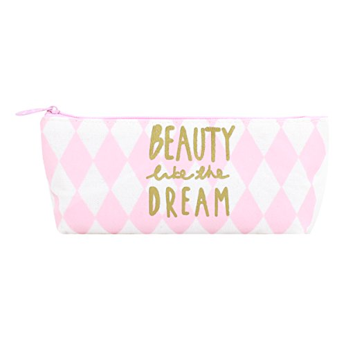 (Van Caro Pink Pen Bag - Canvas Pencil Pouch Case Travel Makeup Bags Multi-Functional Stationery Gift for Girls)