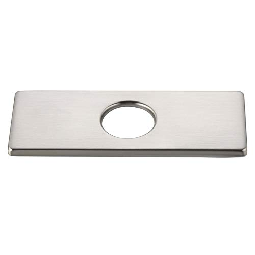 Homary 6 Inches Bathroom Vanity Sink Faucet Hole Cover Deck Plate Stainless Steel Metal Rectangular Replacement 3 Holes Escutcheon Plate in Brushed Nickel Finish