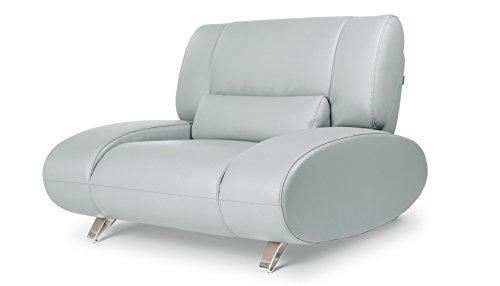 Aspen Chair - Zuri Furniture Light Grey Aspen Leather Chair