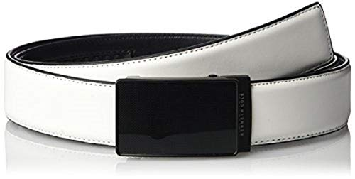 Kenneth Cole REACTION Men's Perfect Fit Adjustable Click Belt with Plaque Buckle,White,Large