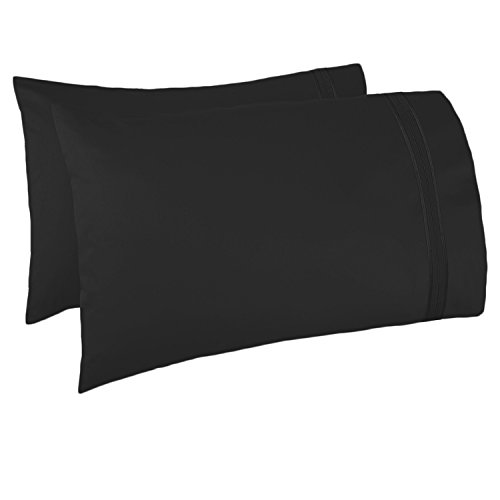 Black Premier Case - Nestl Bedding Set of 2 Pillowcases – Luxury 100% Soft Double Brushed Microfiber Premier 1800 Pillow case Collection, Hypoallergenic Cool & Breathable Sleep Covers, King Size 20