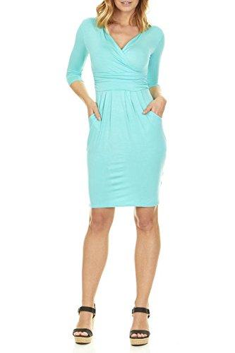 c V-Neck Sleeve Dress - 3/4 Sleeve Wrap Pencil Dress with Pockets (1X, Dark Mint) ()