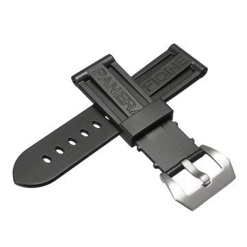 24mm Wristwatch Strap Silicon Rubber Watch Band for PANERAI - Smart Watch & Band Watch & Band Accessories - (Silver) - 1x Watch strap (with buckle)