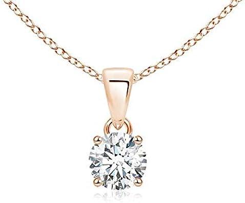 Colgante de solitario de diamante redondo clásico en oro rosa de 14 K (5,2 mm de diamante)