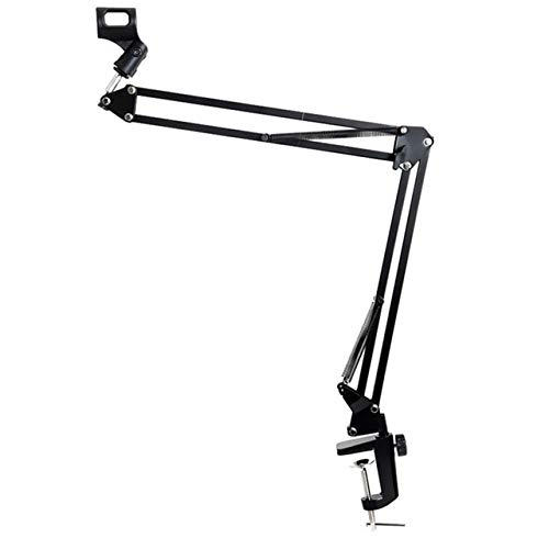 Ochoos 1 pc Black Metal Microphone Scissor Arm Stand Mic Clip Holder Desktop Microphone Stand Adjustable Desktop Microphone Stand - (Color: Black)