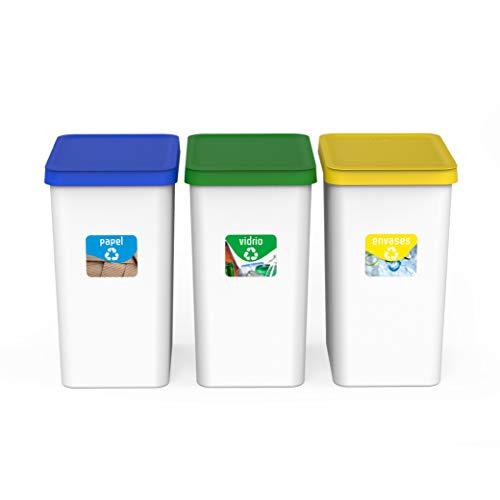 🥇 USE Family papeleras Recycle- Cubos de Basura de Reciclaje Cocina 28L Fabricado con plastico reciclable. Pack de 3.
