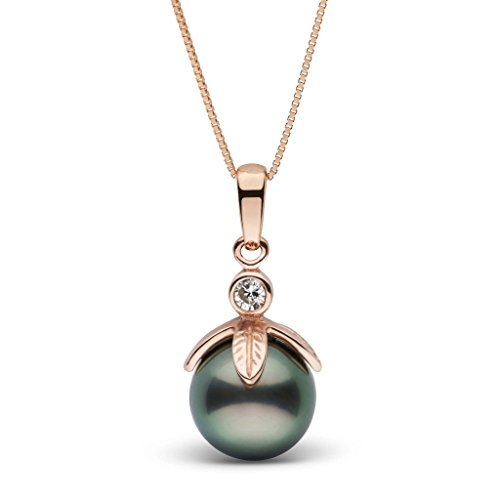Leaf Collection 9.0-10.0 mm Tahitian Cultured Pearl and Diamond Pendant - Rose Gold - 18 Inch (Quality Pendant Tahitian Pearl Standard)