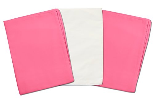 3 Toddler Pillowcases - 2 Hot Pink and 1 White - Envelope Style - For Pillows Sized 13x18 - 100% Cotton With Soft Sateen Weave - Machine Washable - ZadisonJaxx Bellacolour Collection - 3 Pack by Zadisonjaxx (Image #1)