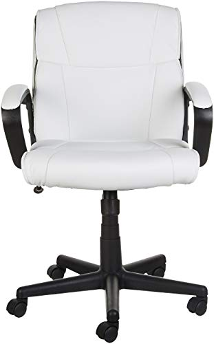 AmazonBasics Classic Leather-Padded Mid-Back Office Chair with Armrest - White by AmazonBasics (Image #2)