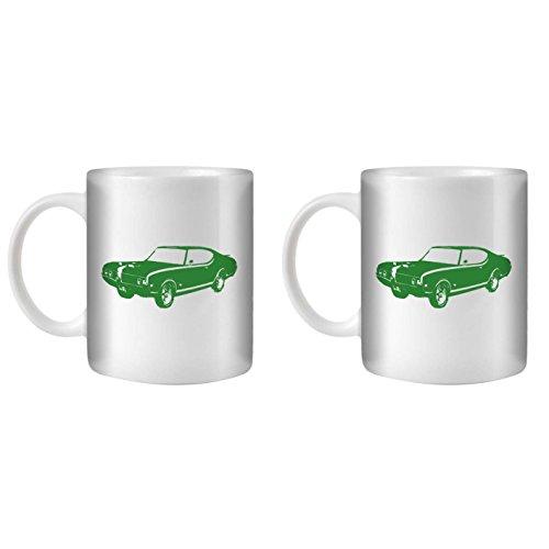 STUFF4 Tea/Coffee Mug/Cup 350ml/2 Pack Green/Hurst Olds 442 Muscle/White (Oldsmobile 442 Hurst Set)
